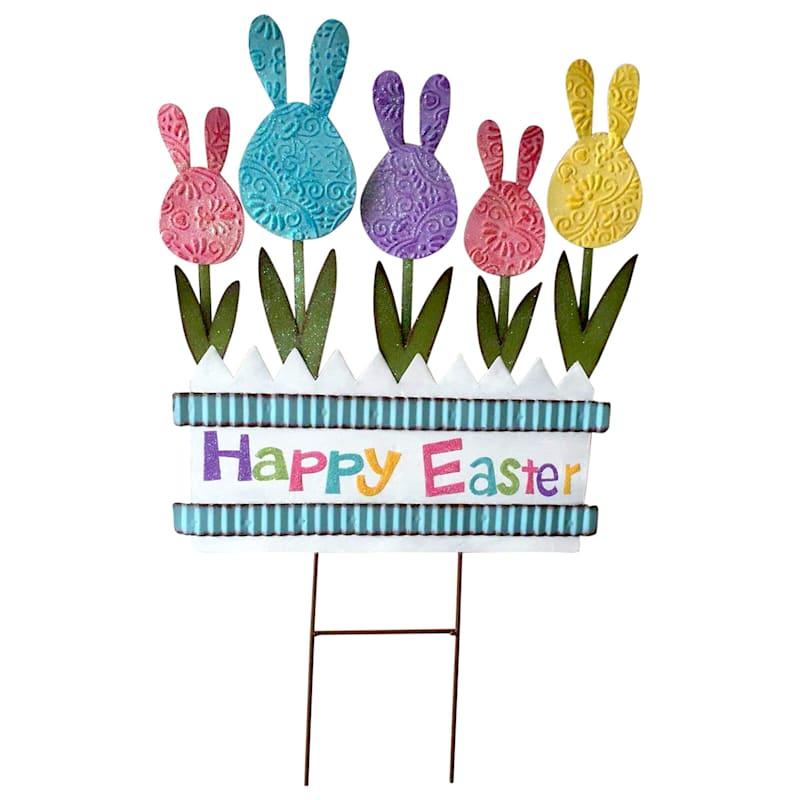 Bunny Flowers 'Happy Easter' Metal Stake 27-in