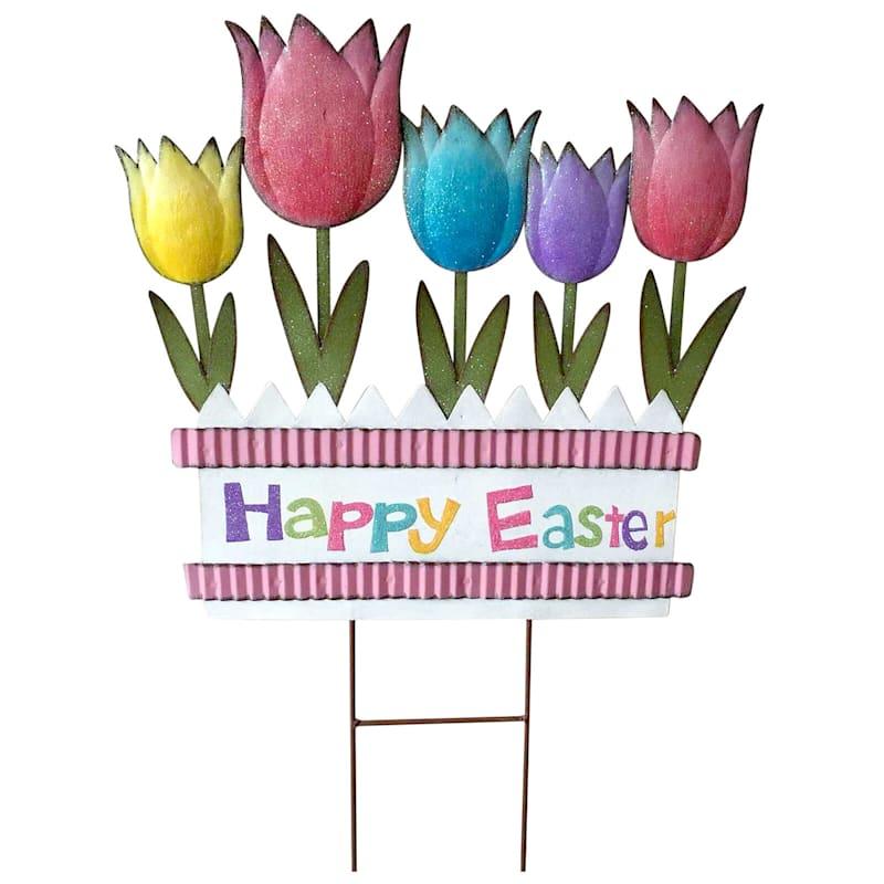 """Happy Easter"" Tulips Metal Yard Stake, 27.5"""