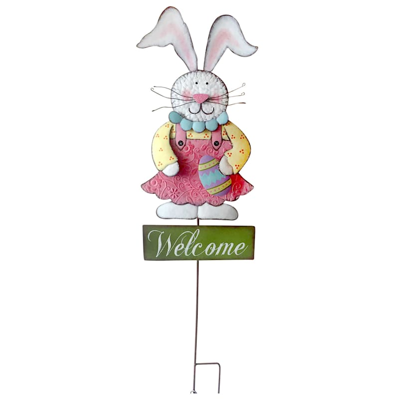 'Welcome' Girl Bunny Stake 40-in