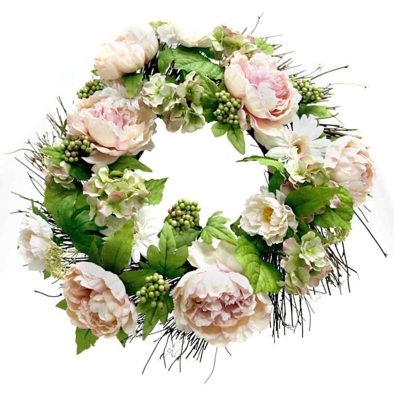 """Peony/Daisy/Hydrangea Wreath, 20"""""""