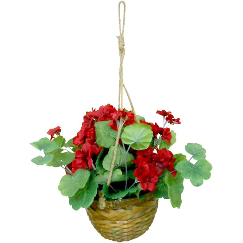 RED SPRING FLOWERS IN BASKET