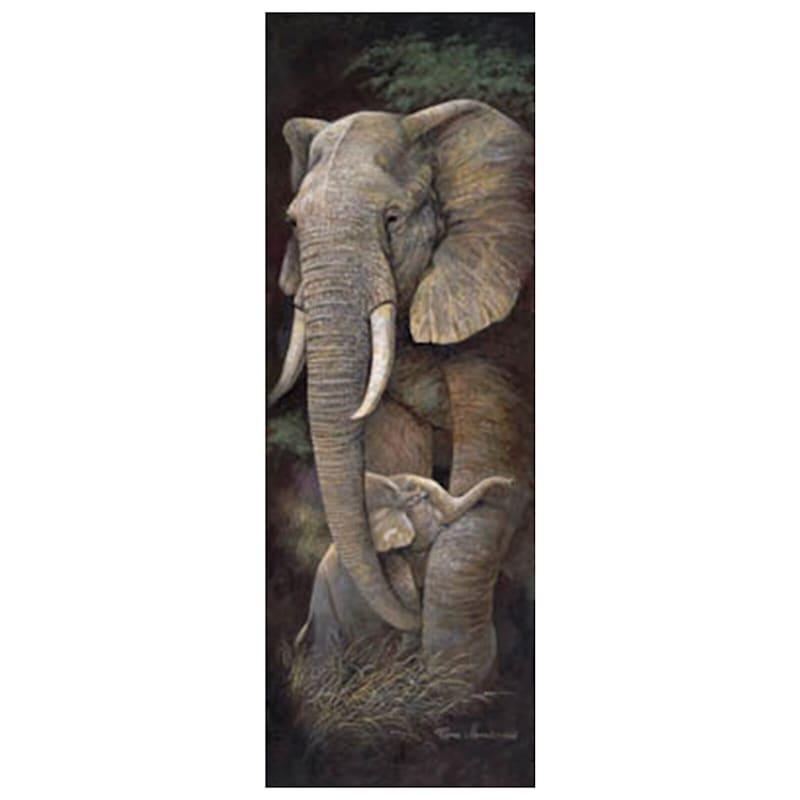 12X36 Elephant Protective Care Safari Canvas Art