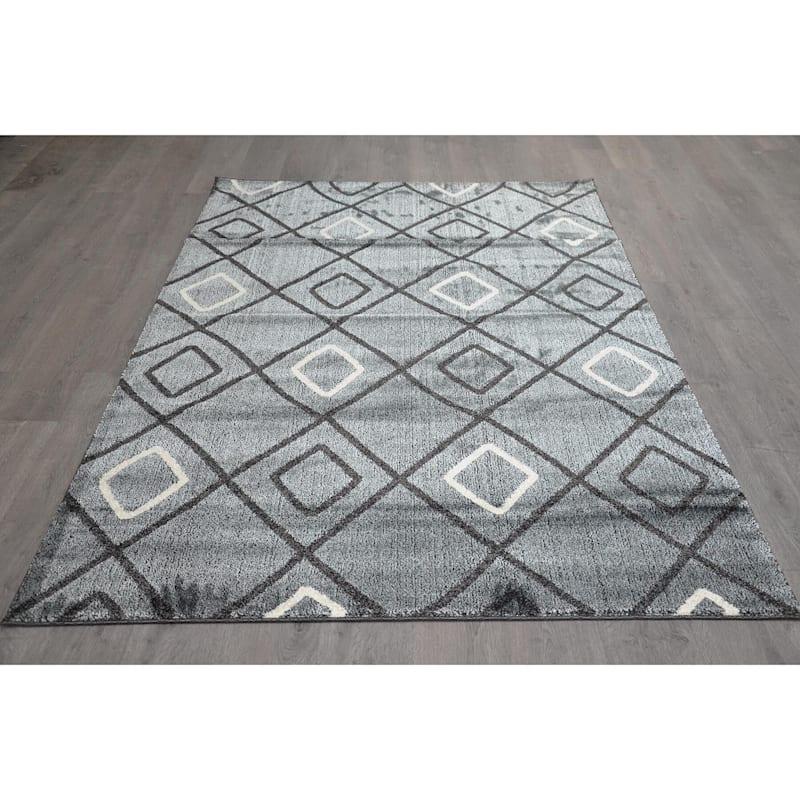 (B436) Anthracite Diamond Design, 3x5