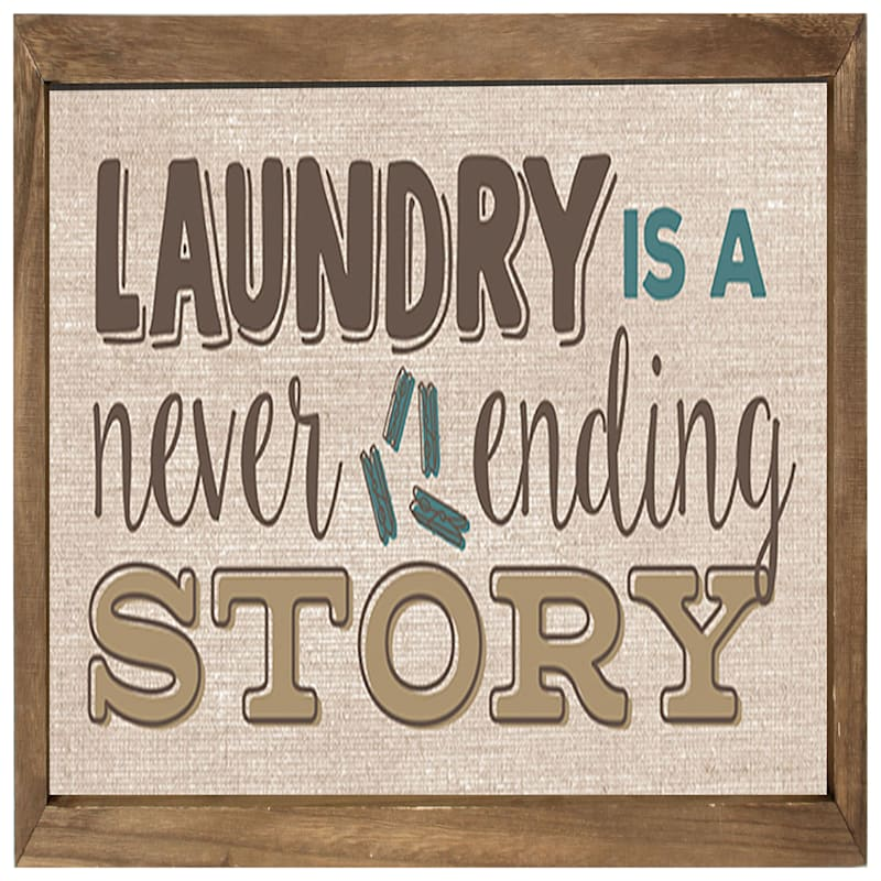 21X11 Laundry Story Rustic Framed Art