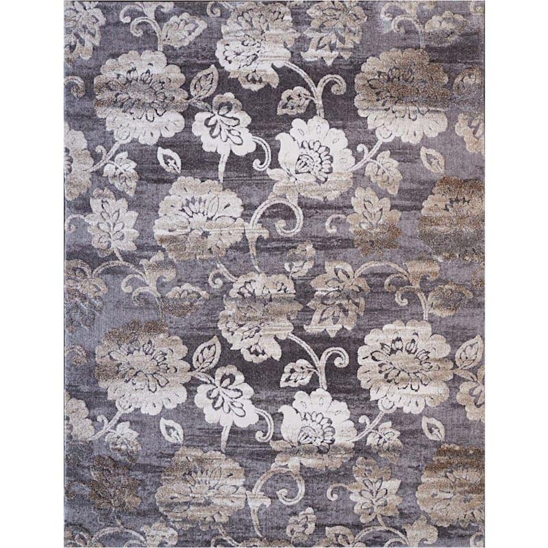 (B439) Cora Gray Floral Area Rug, 7x10