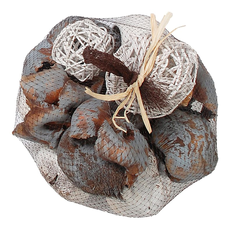 Grey Orbs And Shells In Netted Bag 8X6