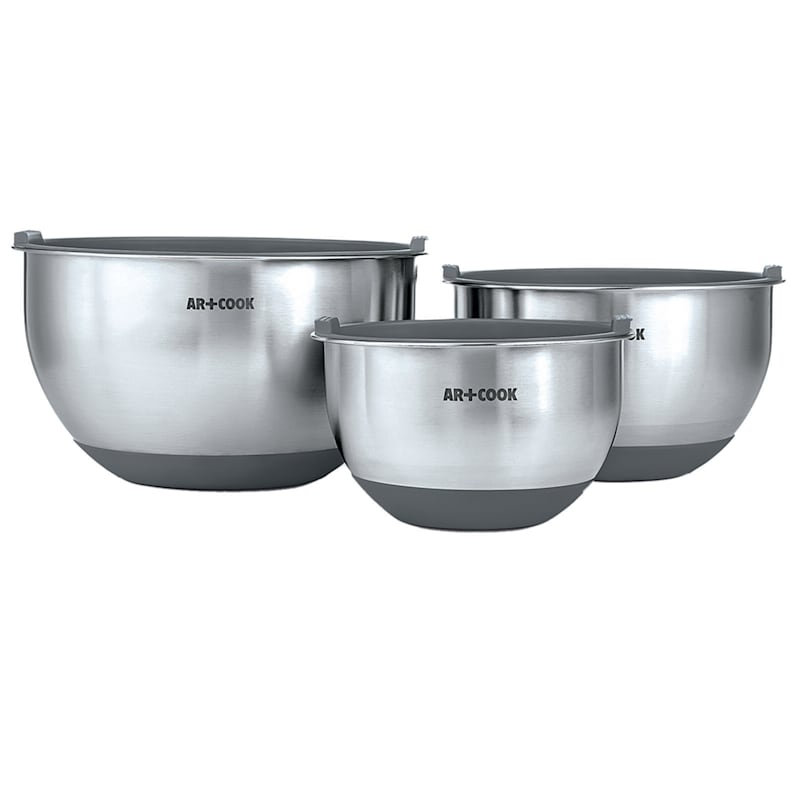 3-Piece Stainless Steel Mixing Bowls/Lids/Non-Skid Base