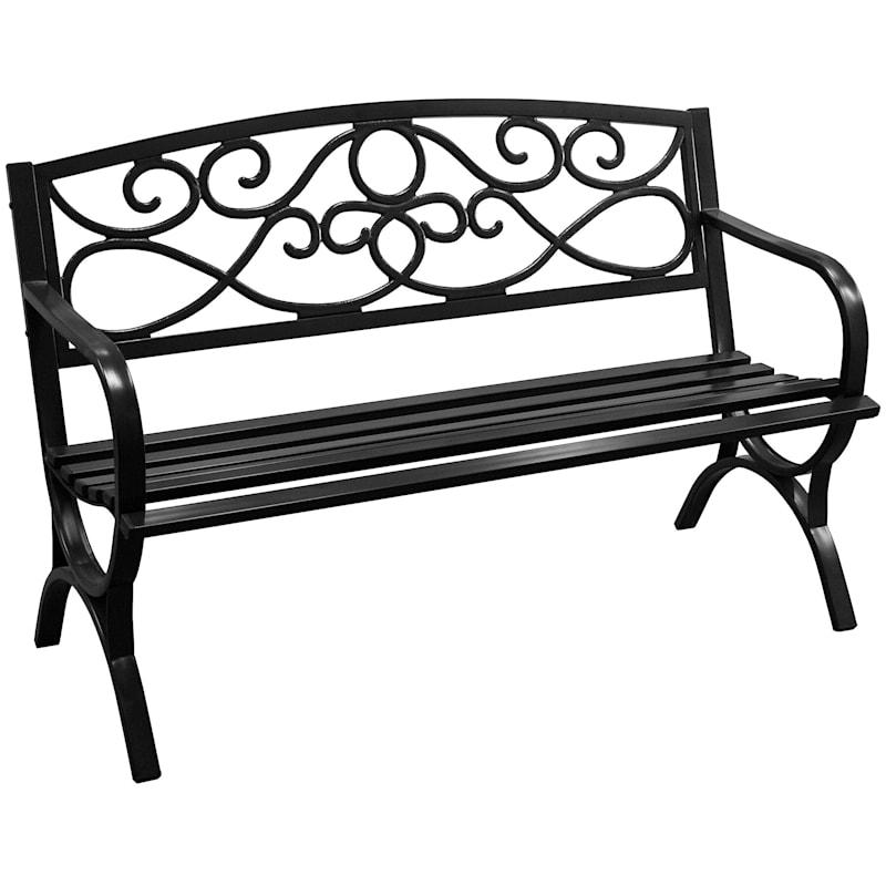 Black Steel Garden Bench Scroll Back