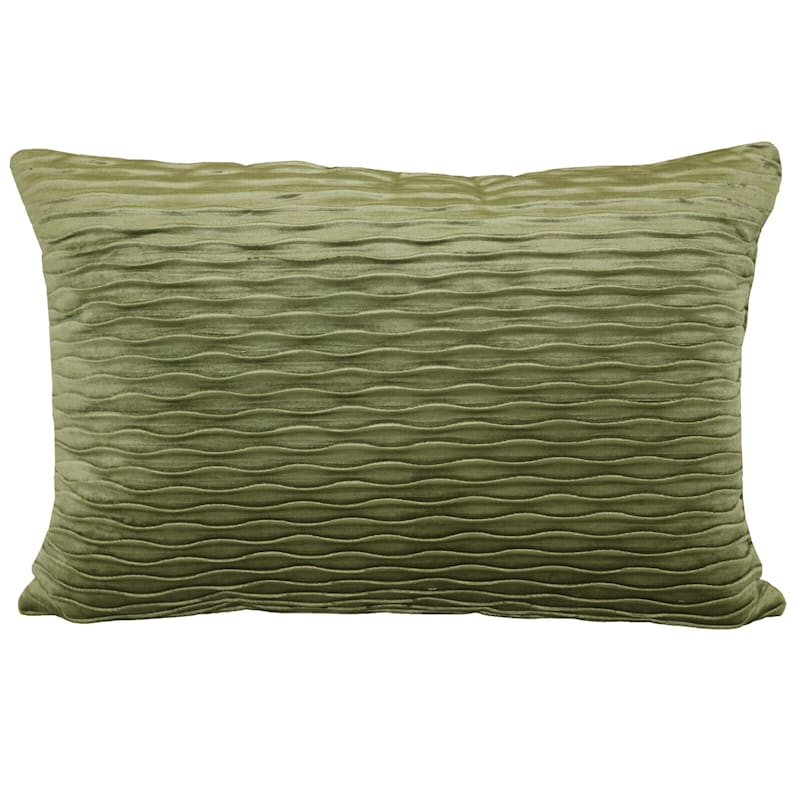 Olive Ripple Textured Plush Pillow 14X20