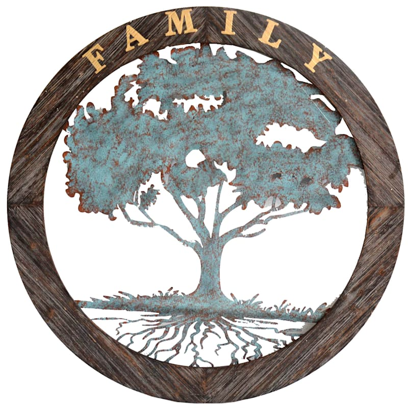 34X34 Family Tree Metal With Wood Circle
