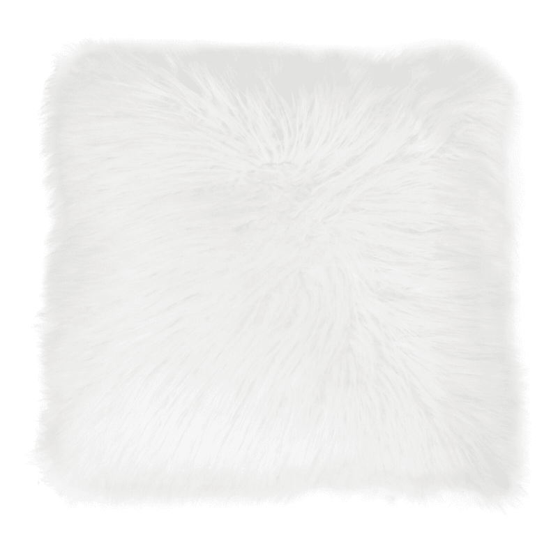 Keller White Mongolian Faux Fur Pillow 26in.