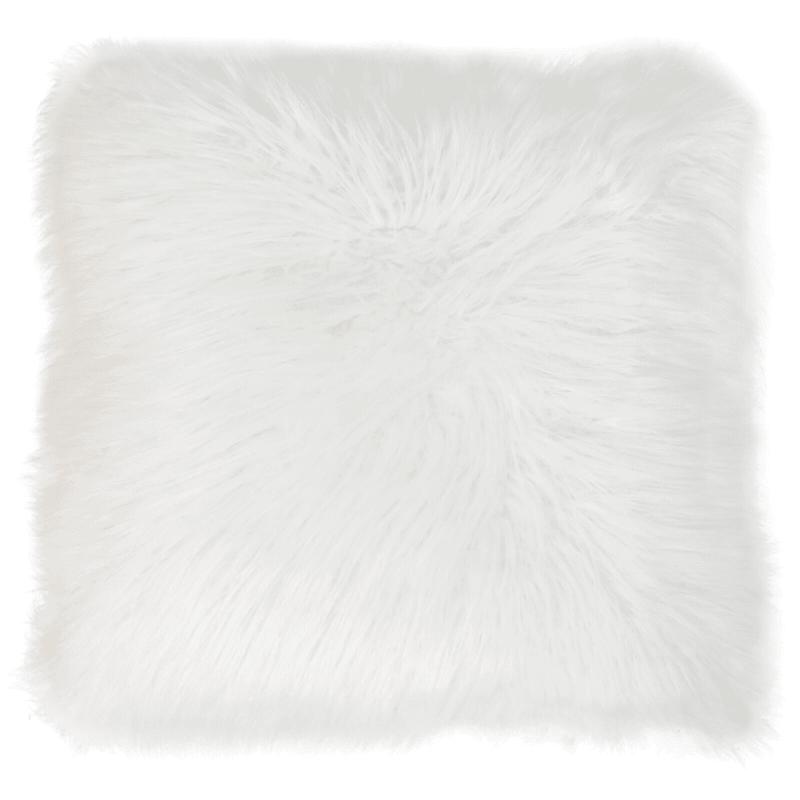 Keller White Mongolian Faux Fur Pillow 26in.