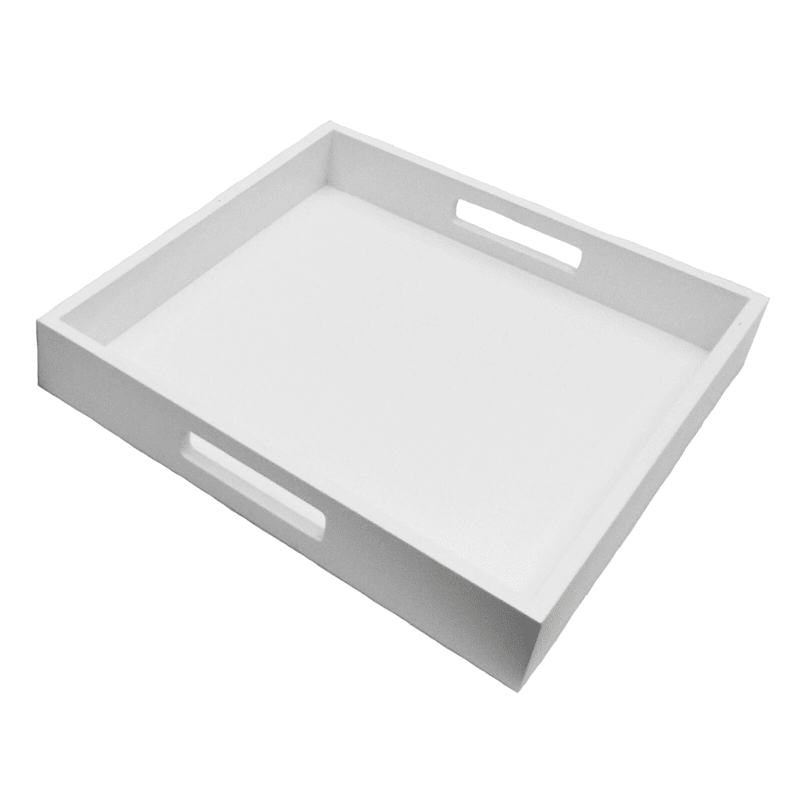 12in. White Wood Tray