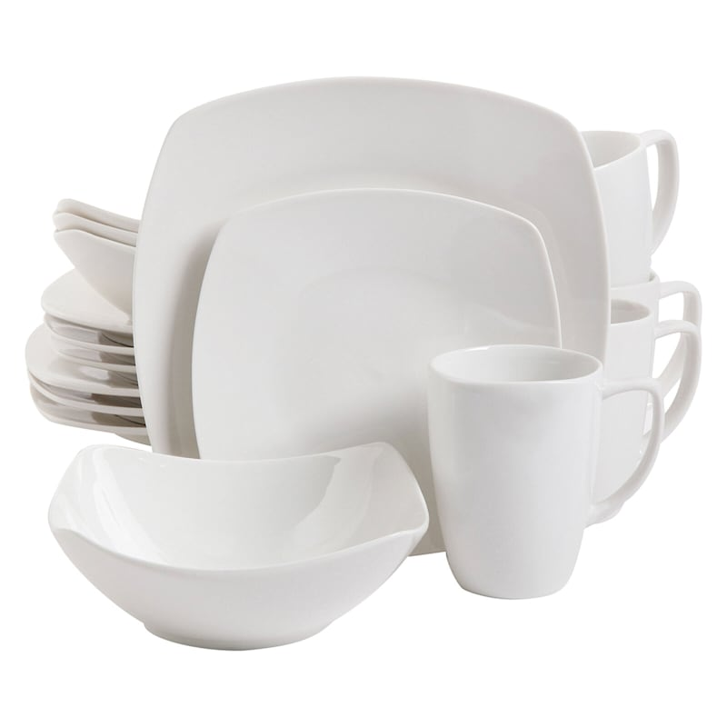 Zen Buffetware 16-Piece Square Dinnerware Set White Fine Ceramic