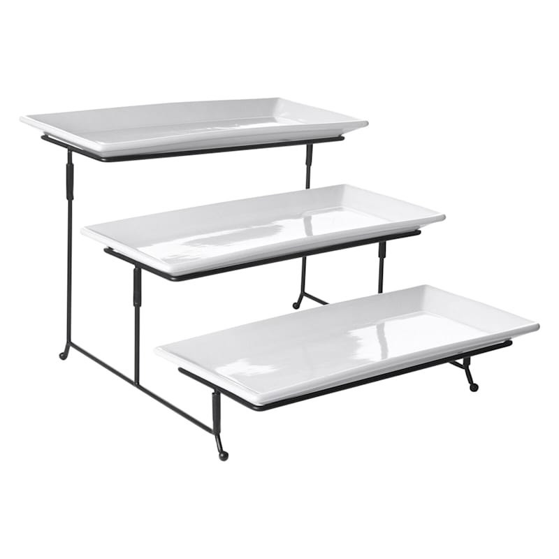Gracious Dining 3 Tier Serving Tray Set/Metal Stand White Ceramic