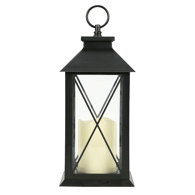 6X11 Led Plastic Lantern Black