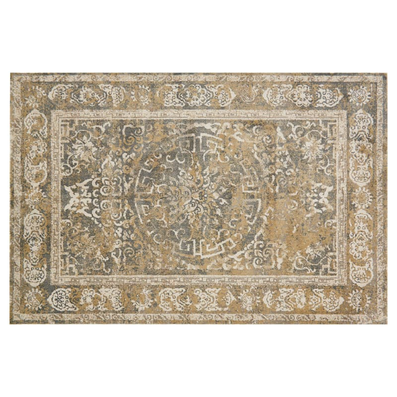 (A343) Willow Medallion Grey & Ivory Microfiber Area Rug, 5x7