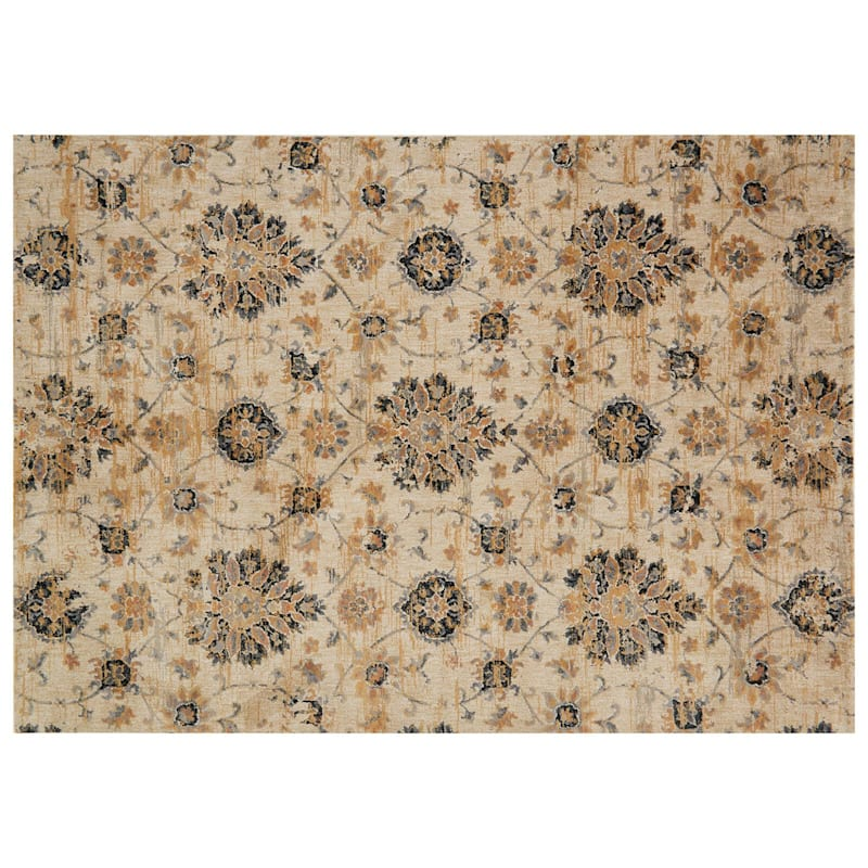 (A344) Willow Floral Ivory Multi Area Rug, 8x10