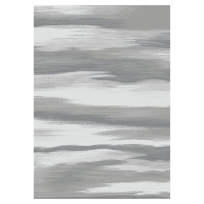 (D340) Gloucester Windswept Grey Printed Area Rug With Non-Slip Back, 7x9