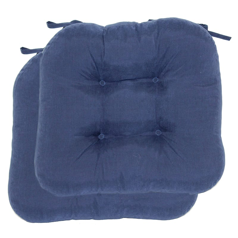 Microsuede 2-Pack Chair Pad/4 Tacks/Ties Navy