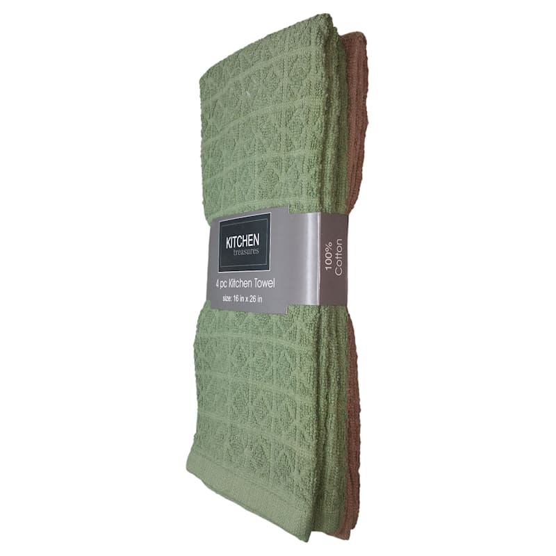 4-Piece Olive/Taupe Solid Kitchen Towel