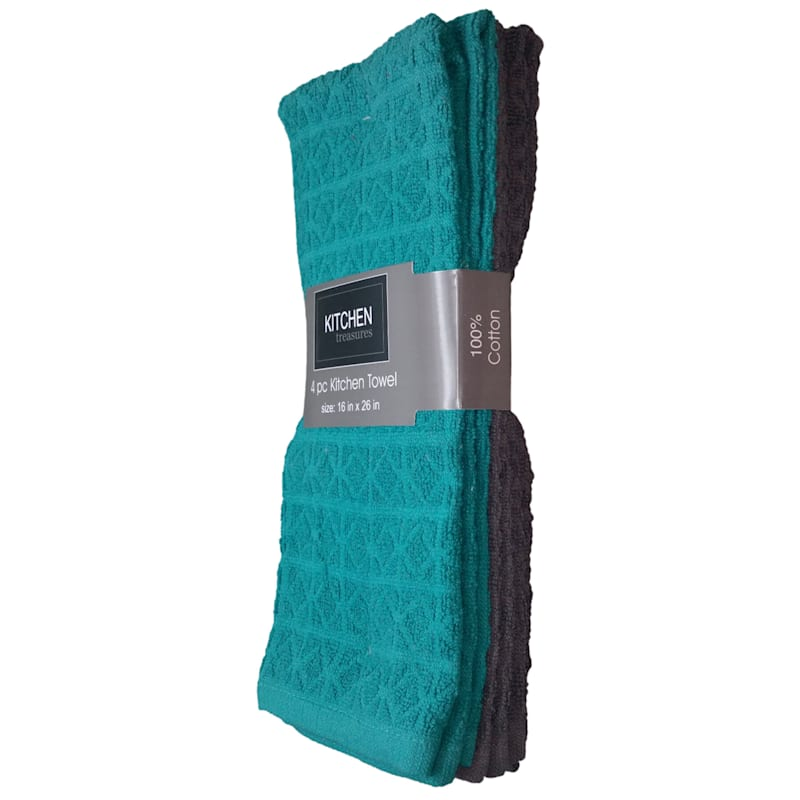 4-Piece Teal/Dark Grey Solid Kitchen Towel