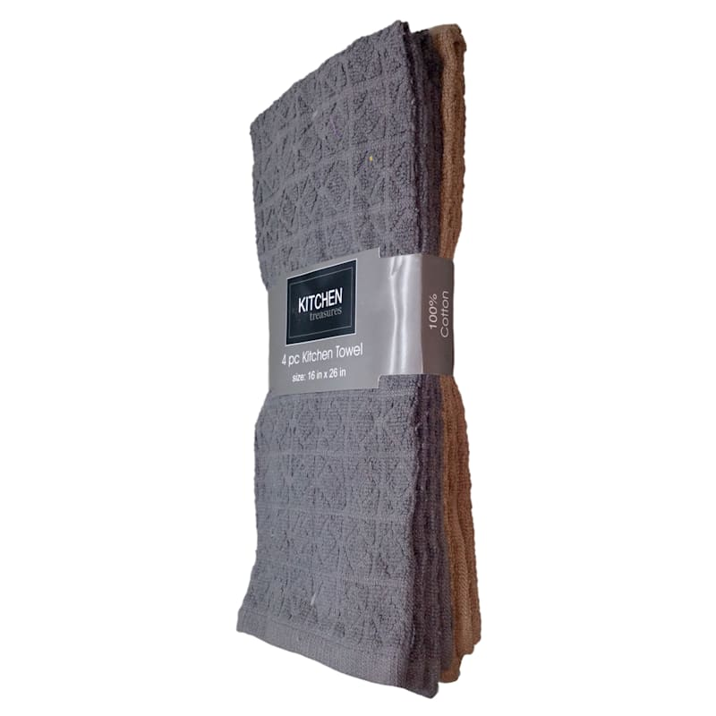 4-Piece Dark Grey/Taupe Solid Kitchen Towel