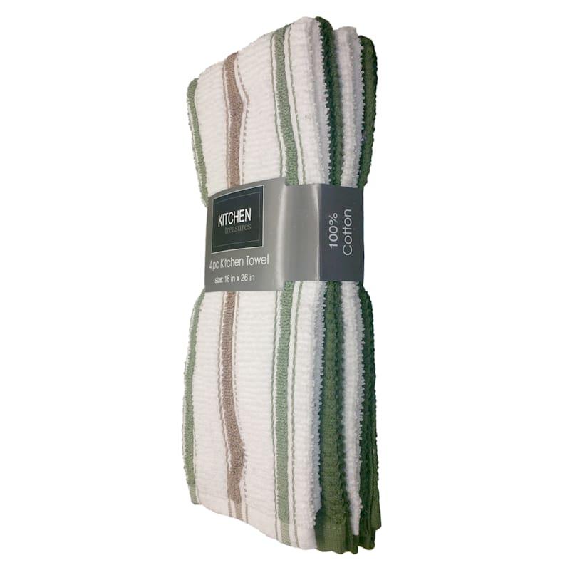 4-Piece Olive/Taupe Stripe Kitchen Towel