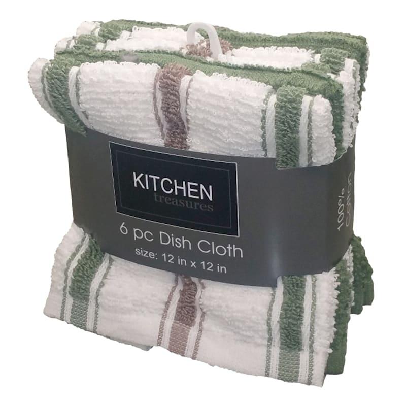 6-Piece Olive/Taupe Stripe Dish Cloth