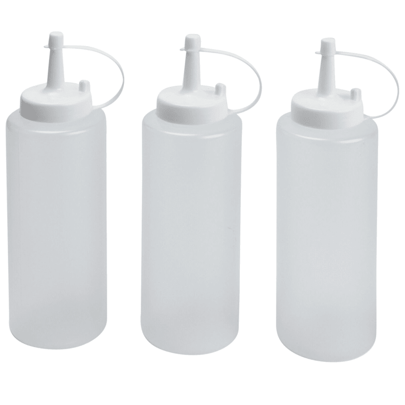 3 Plastic Condiment Bottles