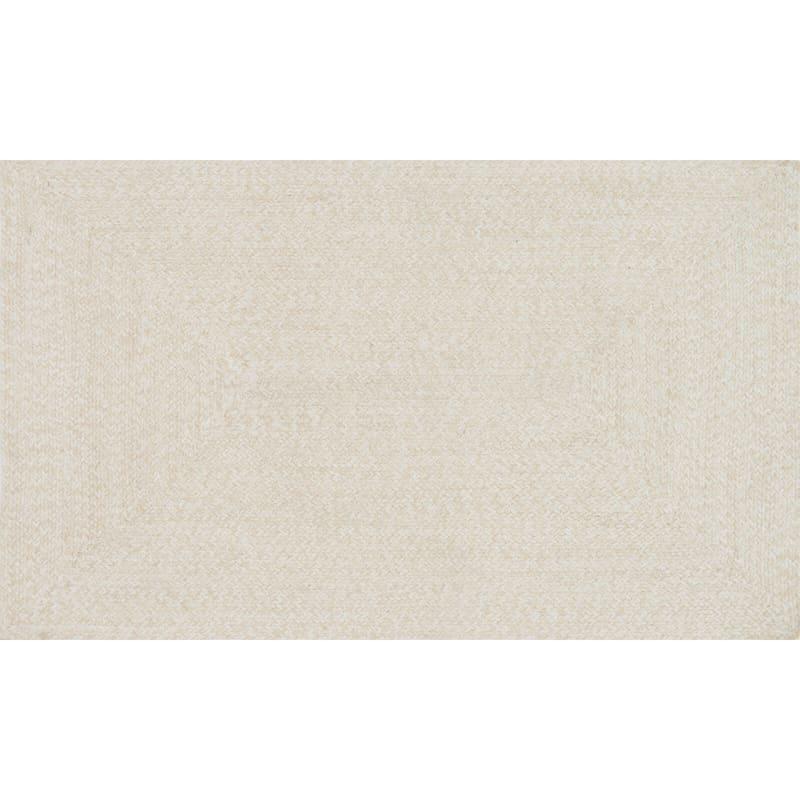 (D350) Mario Cream Cotton Braid Accent Rug, 2x4