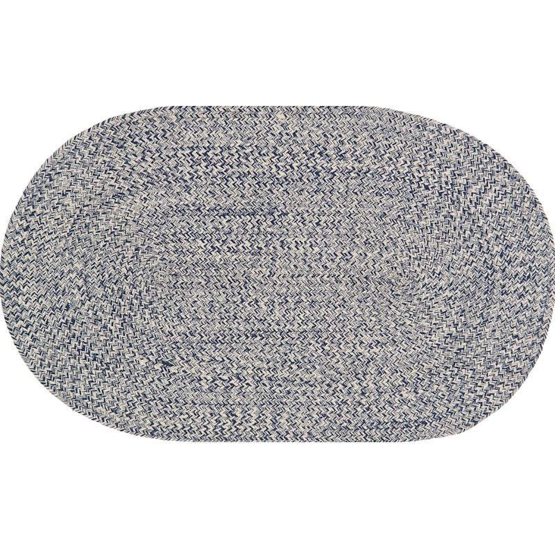 (D351) Mario Navy Oval Cotton Braid Accent Rug, 2x4