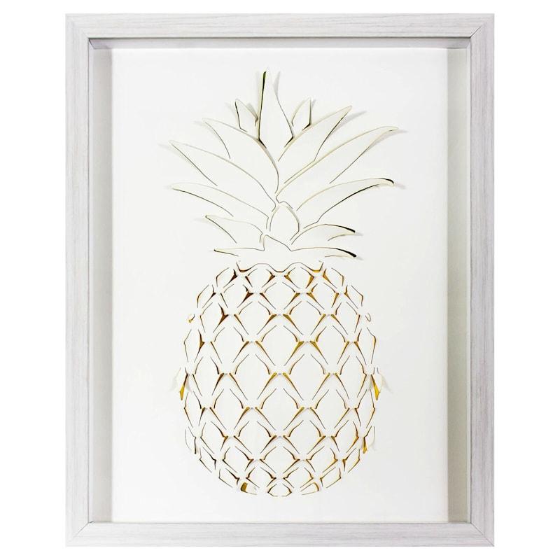 3-D Pineapple Print Wall Art- 16 x 20-in
