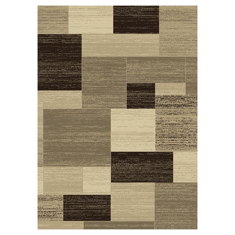 (B446) Romance Tan & Brown Blocks Area Rug, 5x7