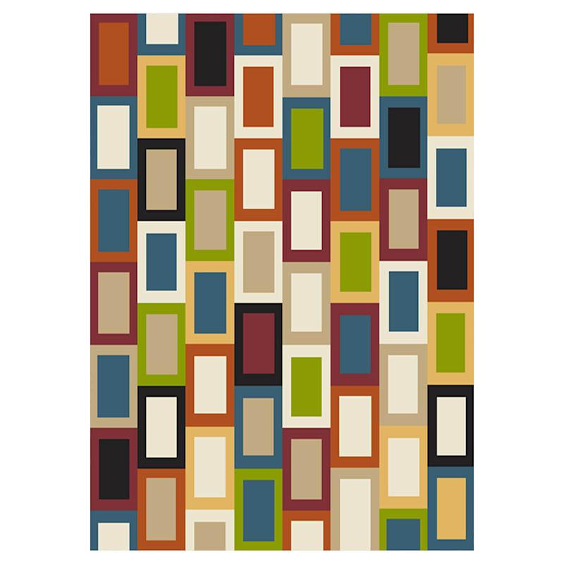 (B447) Romance Multi Color Blocks Area Rug, 5x7