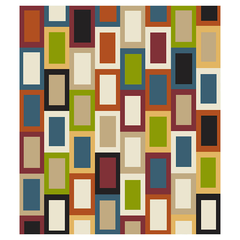 (B447) Romance Multi Color Blocks Area Rug, 7x10