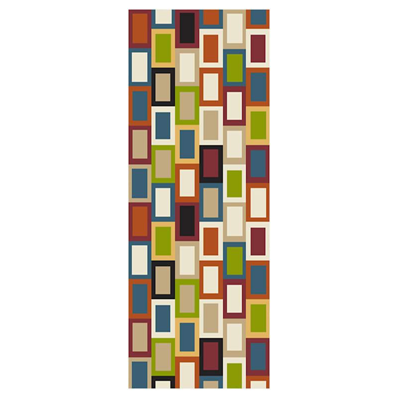 (B447) Romance Multi Color Blocks Runner, 2x6