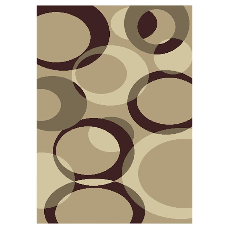 (B449) Romance Tan & Brown Circles Area Rug, 5x7