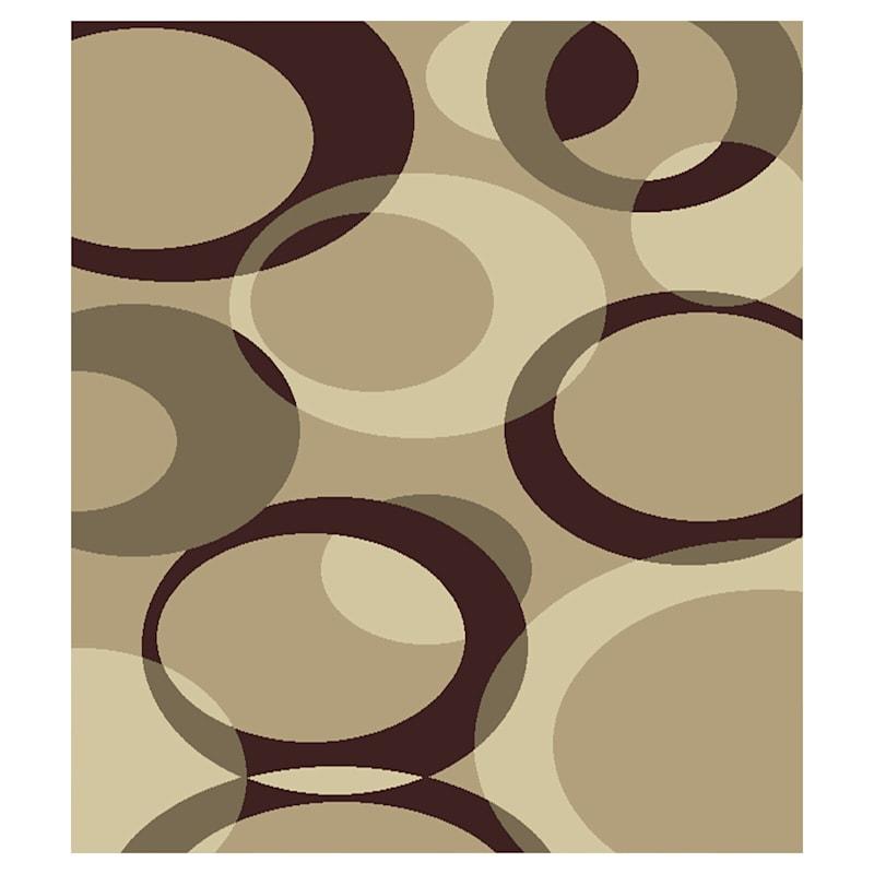 (B449) Romance Tan & Brown Circles Area Rug, 7x10