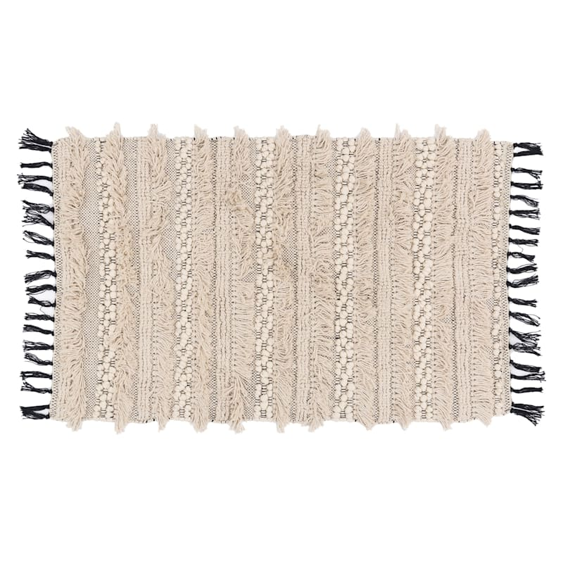 Giovanni Natural & Black Cotton Accent Rug With Fringe, 2x4