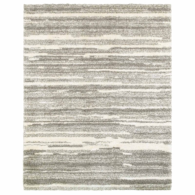 (A345) Plus Shag Rug Grey & Ivory, 8x10