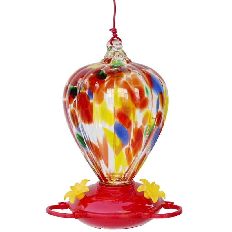 Red Glass Balloon Hummingbird Feeder, 32Oz