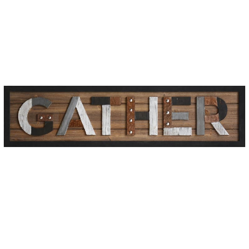 12In.X48In. Gather Raised Framed Wood Plaque