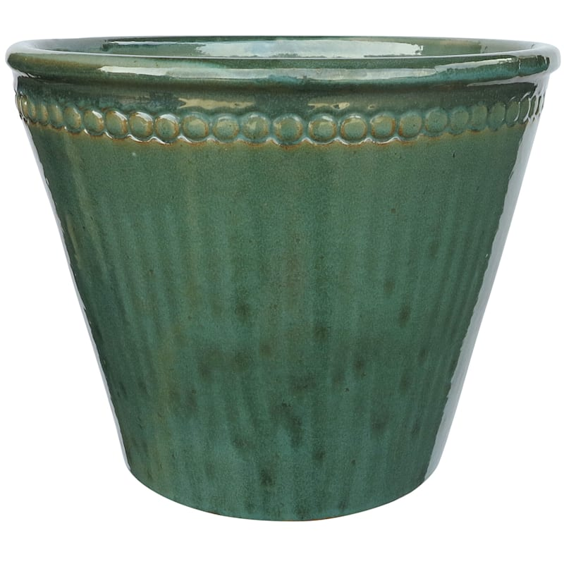Button Symphony Ceramic Planter 14.6in. Moss Green