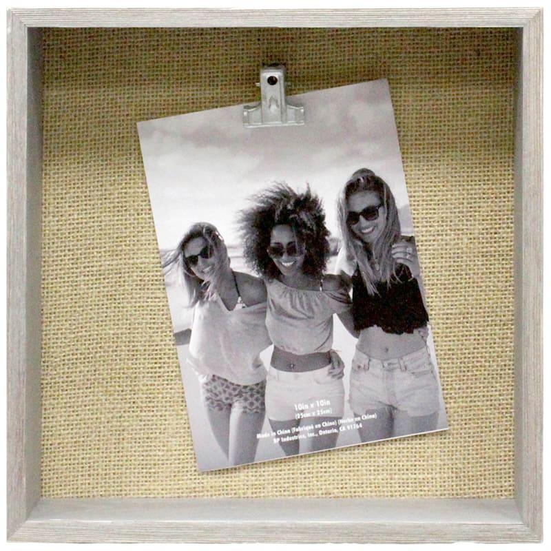10X10 Burlap Grey/White Shadow Box Frame
