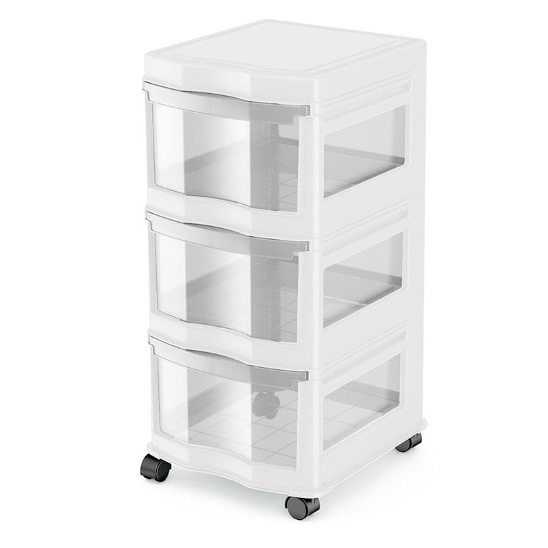 3 Drawer Cart White Clear Drawer