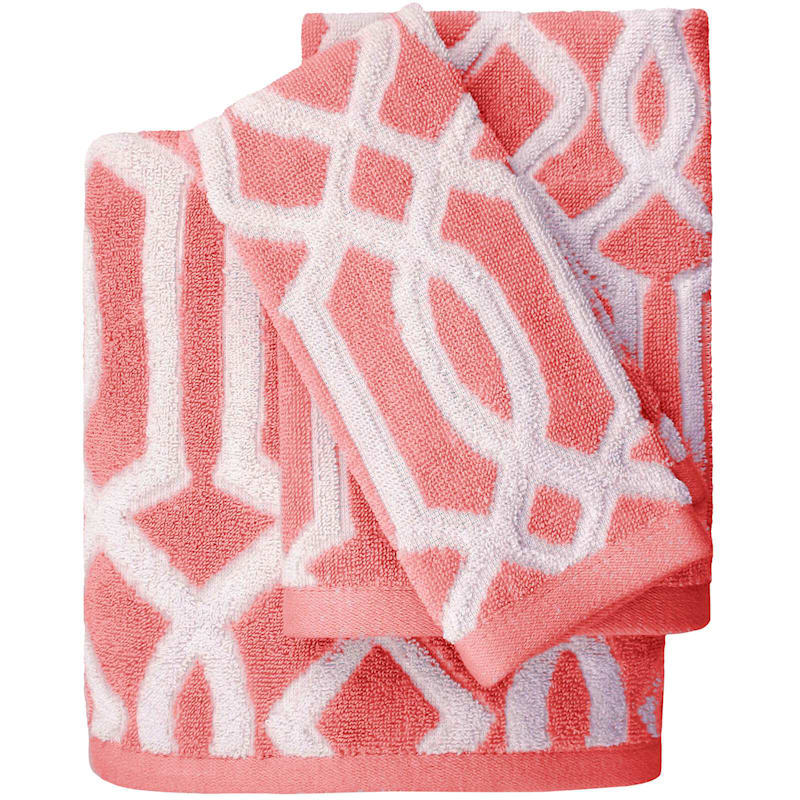 Lucy Coral Jacquard Bath Towel