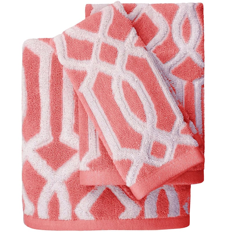 Lucy Coral Jacquard Fingertip Towel