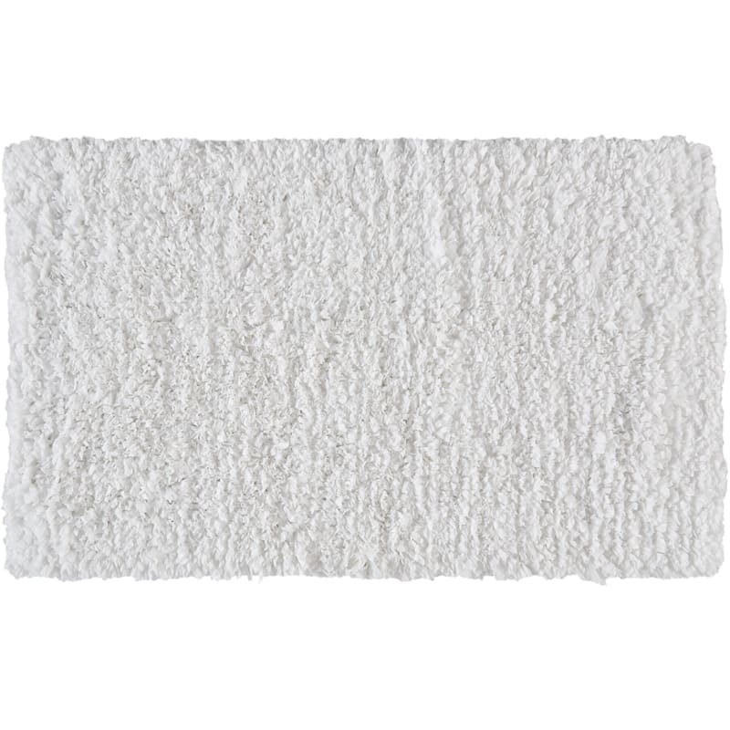 Cotton Poly White Shag Accent Rug, 4x6