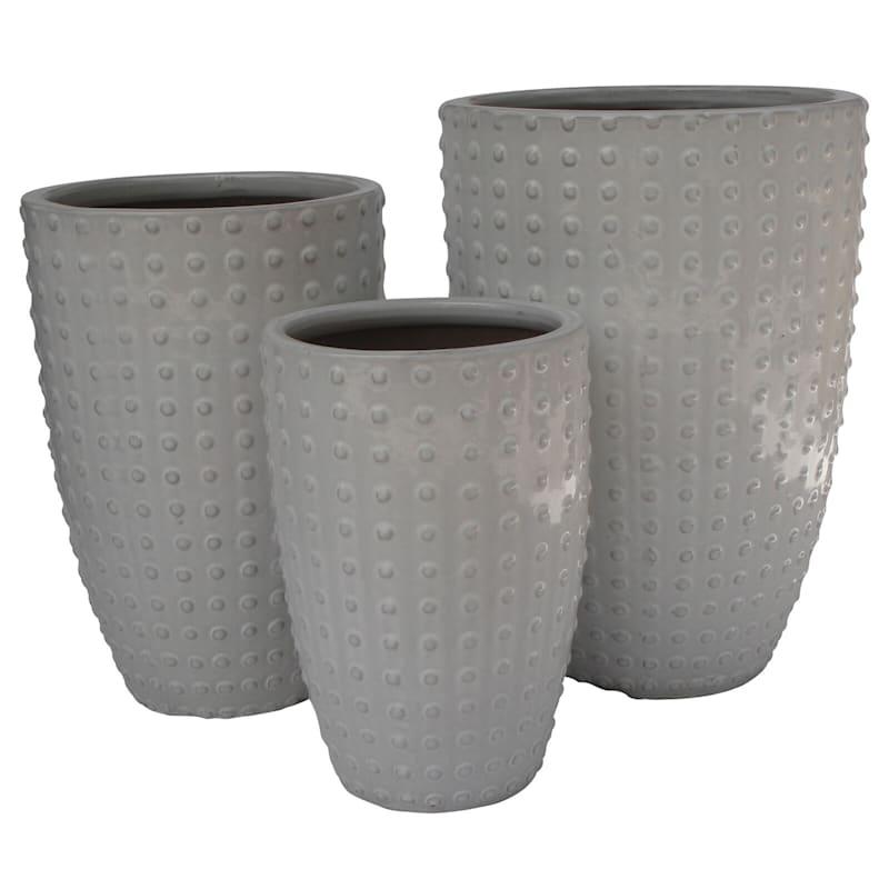 Button Ceramic Planter 19in. White